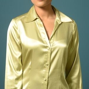 Beautiful pea green silk blouse